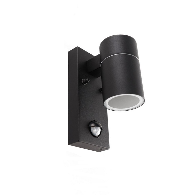 Black Outdoor wall light with motion sensor Acco, Stainless steel, Modern