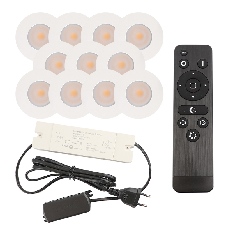 11 white porch recessed spotlights Dico, IP65, incl. Connection set and remote control