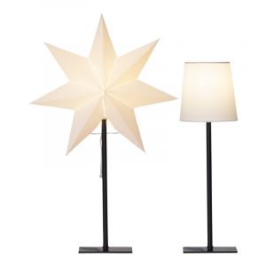 White table lamp with 2 different shades