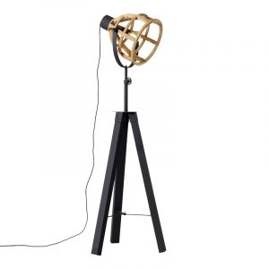Industrial Floor lamp Amy, Black, Metal, On/off switch on the cord