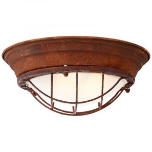 Country Ceiling lamp Aoife, Rust coloured, Metal