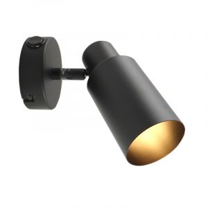 Modern Wall spot Elena, Metal, Black, On/off switch on the product
