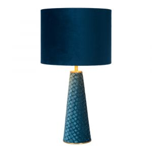 Blue Table lamp Extravaganza Velvet, Metal, Retro, On/off switch on the cord