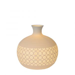 White Table lamp Tiesse, Stone, Retro, On/off switch on the cord