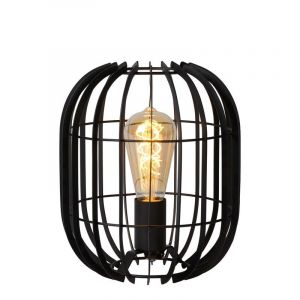 Black Modern Table lamp Reda, Metal, On/off switch on the cord