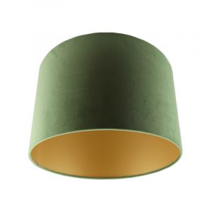 Green Velor lampshade Madelyn, Fabric, Modern