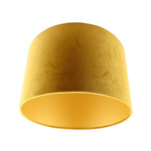 Yellow Velor lampshade Madelyn, Fabric, Modern