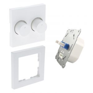 Duo dimmer, switch, with white cover frame and central plate