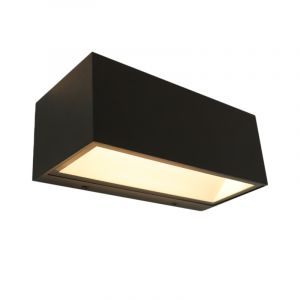 Black Outdoor wall light Cailey, Aluminium, Modern, 10W 3000K (Warm white) integrated LED, Extra wide