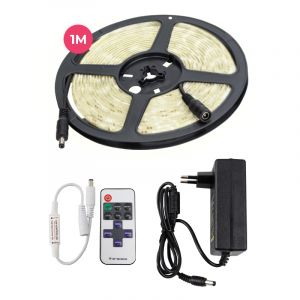 1 meter 12V neutral white LED strip, and 4,8w LEDS 60 p / m, with remote control