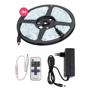 1 meter 12V cold white LED strip, and 4,8w LEDS 60 p / m, with remote control