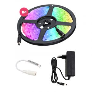 1 meter water-resistant 12V RGB LED strip with cord switch, 30 leds and p 7.2W / m