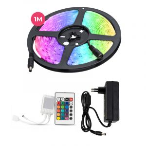 1 meter water-resistant 12V RGB LED strip with remote control, 30 leds and p 7.2W / m