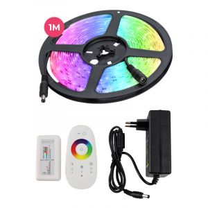 1 meter water-resistant 12V RGB LED strip with touch remote control, 30 leds and p 7.2W / m