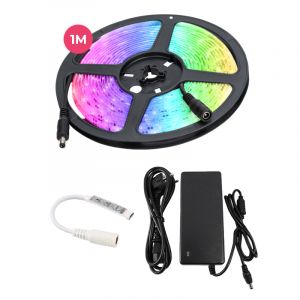 1 meter water-resistant 12V RGB LED strip with cord switch, 30 leds and 14,4w p / m