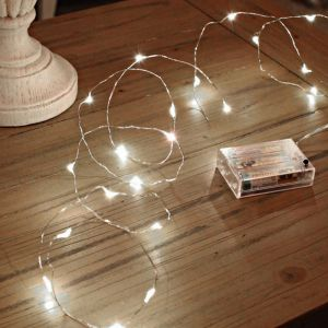 2m silver battery powered wire lighting, 100 LEDs, Bright white