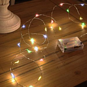 2m silver wire lighting on battery, 100 leds, colored leds