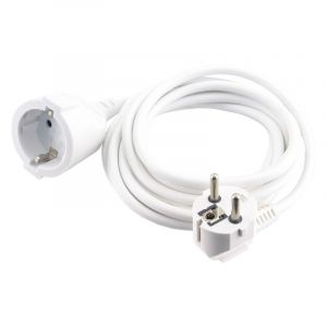 Exin extension cord earthed, 2500w 3 x 1.0 mm. 3 m white