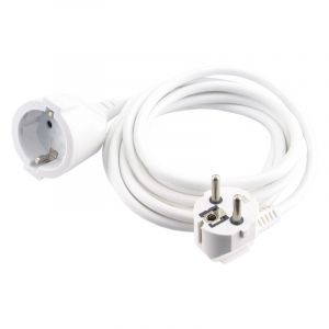 Exin extension cord earthed, 2500w 3 x 1.0 mm. 5 m white