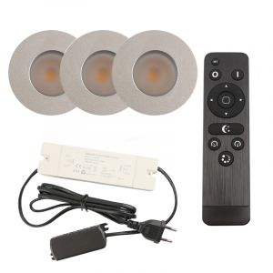 3 brushed Chrome porch recessed spotlights Dico, IP65, incl. Connection set and remote control