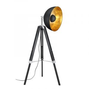Industrial Floor lamp Tzippora, Wood, Black, On/off switch on the cord