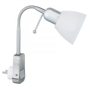 Nickel Wall socket wall light Ava, Metal, On/off switch on the product