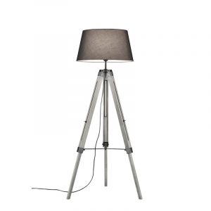 Classic Floor lamp Axel, Wood, Gray, On/off switch on the cord