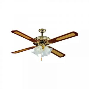 Brown Classic Ceiling fan Mazlum, Polyester, Pull switch