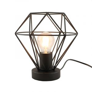 Industrial Table lamp Jochem, Black, Metal, On/off touch switch on the cord