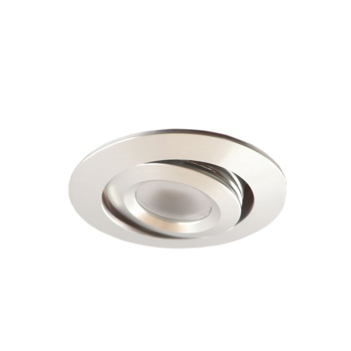Rona tiltable porch recessed spot, IP65, dimmable, Brushed chrome